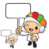 Clinical Dietitian Mascot the hand is holding a picket. Work and Stock Images