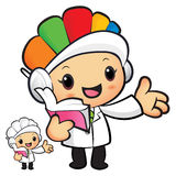 Clinical Dietitian mascot the left hand guides and the right han Royalty Free Stock Image