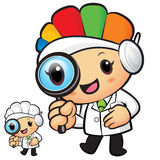 Clinical Dietitian mascot look through a magnifying glass. Work Royalty Free Stock Photo