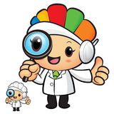 Clinical Dietitian mascot look through a magnifying glass. Work Stock Images