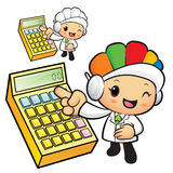 Clinical Dietitian mascot Points to the electronic calculator. W Stock Image