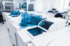 Clinical lab and blood bank equipment. Saint-Petersburg, Russia - April 6, 2018: Clinical laboratory and blood bank equipment. Centrifuge of Cobas system royalty free stock photography