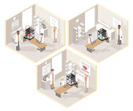 Clinical laboratories set of isometric illustrations with medical 3D printer. And professional doctors creating three-dimensional organs under computer control Royalty Free Stock Photos