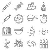 Clinical medical laboratory line vector icons set. Clinical medical laboratory line icons set. Microscope and dna, rat and bulb, virology and procedure molecular royalty free illustration