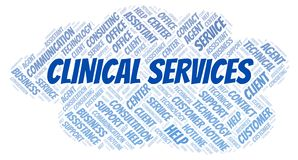 Clinical Services word cloud. Wordcloud made with text only vector illustration