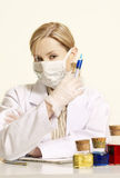 Clinical Study. Woman notes and substances Stock Image