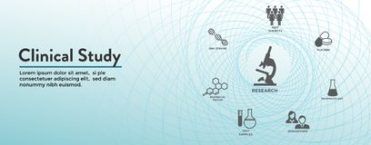 Clinical Study Web Header Banner & Icon Set. Clinical Study - Web Header Banner and Icon Set stock illustration