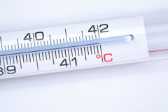 Clinical Thermometer. A clinical thermometer showing body temperature of 42 degrees Celsius Royalty Free Stock Images