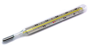 Clinical thermometer. Clinical Celsius thermometer on a white background Royalty Free Stock Photography