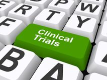 Clinical trials button. An illustration of a keyboard with a button labeled Clinical Trials royalty free illustration
