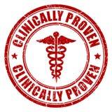 Clinically proven. Emblem on white background stock illustration