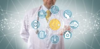 Clinician Accessing Medical Diagnostics App. Unrecognizable clinician accessing a medical diagnostics app connected to a seamless data transfer. Healthcare royalty free stock image