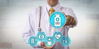 Clinician Offering Telemedicine Prescription Update stock photo