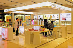 Clinique beauty care products outlet. Retail outlet of international brand clinique displaying beauty skincare, makeup, fragrance and hair care products at Royalty Free Stock Photos