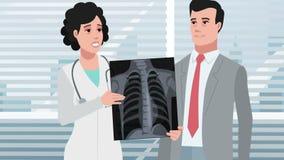 Clinique de bande dessinée/patient masculin présentant la radiographie de la poitrine banque de vidéos