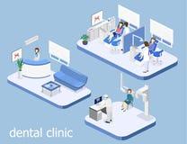 Clinique dentaire à plat intérieur du bureau du ` s de dentiste Image libre de droits