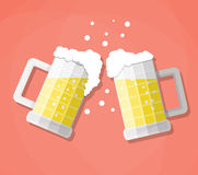 Clink beer mugs Royalty Free Stock Photo