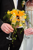 Clink glasses. By bride and groom Royalty Free Stock Images