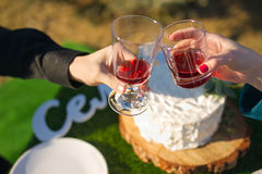 Clink glasses. Close up of young couple with glasses of red Royalty Free Stock Photos