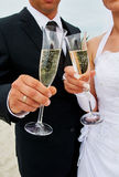 Clink glasses by couple. Clink glasses by bride and groom Stock Photos