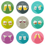 Clink glasses icons. Royalty Free Stock Photo