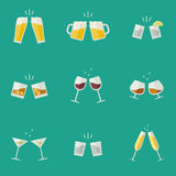 Clink glasses icons. Clink glasses flat icons. Glasses with alcoholic beverages Stock Images