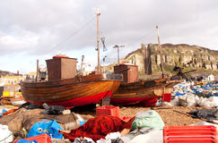 Clinker built fishing boats on Hastings Beach Stock Image