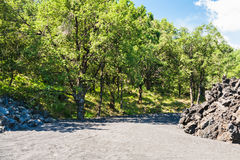 Clinker and pumice field on slope Etna volcano Royalty Free Stock Photos