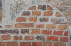 Clinker wall with arch,  background Royalty Free Stock Photography