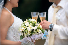 Clinking champagne. Bride and groom clinking champagne glasses Royalty Free Stock Photo