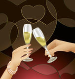 Clinking Champagne Flutes. Man and woman clinking champagne flutes, celebrating romantic Valentine's Day evening Stock Photos