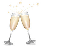Clinking Champagne Flutes with Bubbles. Clinking champagne flutes with a splash and bubbles Stock Images