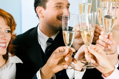 Clinking champagne glasses Royalty Free Stock Photography