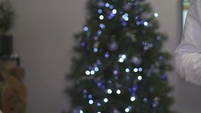 Clinking glasses of champagne on christmas tree background stock video footage