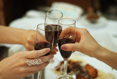 Clinking glasses of champagne, wine Royalty Free Stock Image