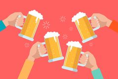 Beer clinking hands. Royalty Free Stock Images