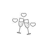 Clinking wine glasses with hearts line icon royalty free illustration