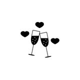 Clinking wine glasses with hearts sloid icon,. Stemware and wineglasses , vector graphics, a filled pattern on a white background, eps 10 Stock Images