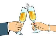 Clinkingsglazen met de vector van het champagnepop-art Stock Fotografie