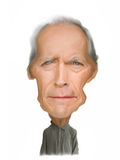 Clint Eastwood karikatyrillustration Arkivfoton