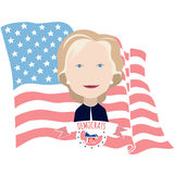 Clinton and the American flag Stock Photo