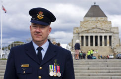 Clinton Breeze at Anzac Day. Supply officer and squadron leader Clinton Breeze in front of the Shrine of Remembrance at the 2009 Anzac Day celebrations in Stock Photo