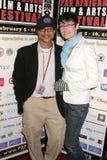 Clinton H. Wallace en Claudia Lari bij de Pan Afrikaanse Première van het Festival van de Film van ?Layla?. Het Theater van het Pl stock foto
