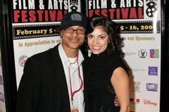 Clinton H. Wallace en Ursula Taherian bij de Pan Afrikaanse Première van het Festival van de Film van ?Layla?. Het Theater van het royalty-vrije stock afbeelding