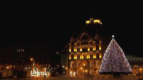 Clinton Square Christmas-boom stock footage