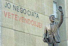 Clinton statue in Kosovo Stock Images