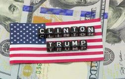 Clinton Trump eller i form av ord Royaltyfri Fotografi