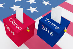 Clinton vs Trump election concept. 3D illustration of Clinton, Trump, 2016 scripts and on two ballot boxes, with US flag as a background. Election Concept Stock Photography