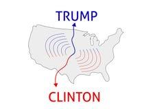 Clintonwinnaar Donald Trump versus Hillary Clinton Verkiezing 20 van de V.S. Stock Afbeelding