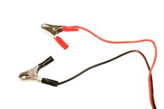 Clip. Electric clip with wires isolated royalty free stock photography